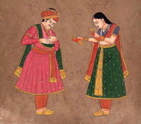 Mughal Miniature Painting Vintage Royal Court Stamp Paper Handpainted Moghul Art