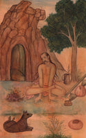 Yoga Sthamba Asana Art Handmade Indian Persian Thambasana Miniature Painting