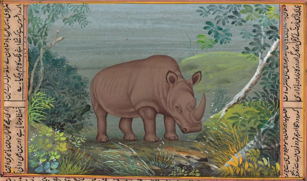 Black Rhino Animal Art Handmade Indian Miniature Watercolor Wild Life Painting