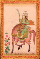 Mughal Dynasty Miniature Painting Stunning Royal Moghul Empire Equestrian Art