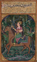Mughal Miniature Painting Handmade Illuminated Manuscript Mogul Portrait Art
