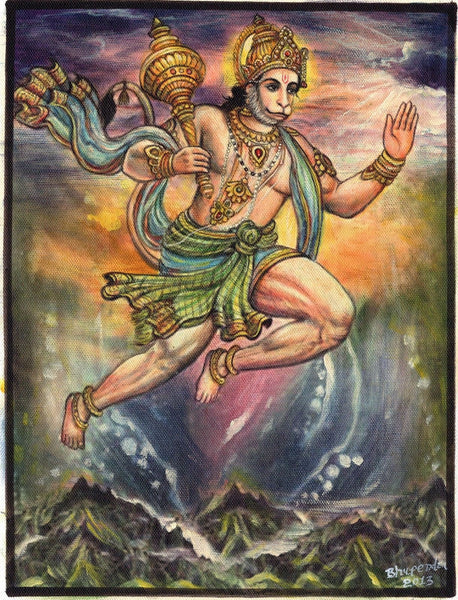 Hanuman Idol Art Handmade Oil on Canvas Hindu Ramayana Ethnic Religion Painting