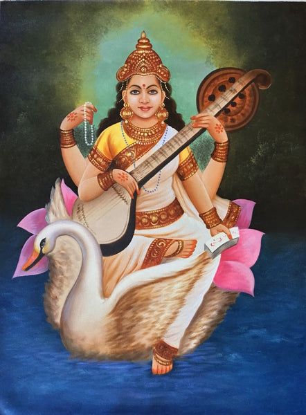 Hindu Goddess Saraswati Painting Handmade Indian Religious Oil on Canvas Artwork