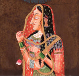 Indian Miniature Ethnic Art Handmade Rajasthani Portrait Folk Paper Painting