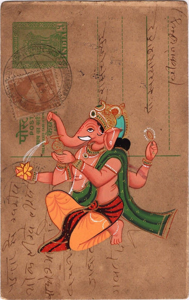 Ganesha Art Handmade Watercolor Miniature Indian Hindu Old Postcard Painting