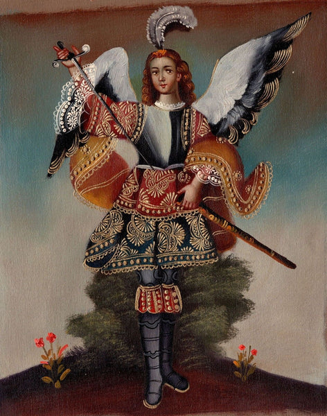 Peruvian Cuzco Art Handmade Archangel Samuel Oil Canvas Peru Folk Decor Painting