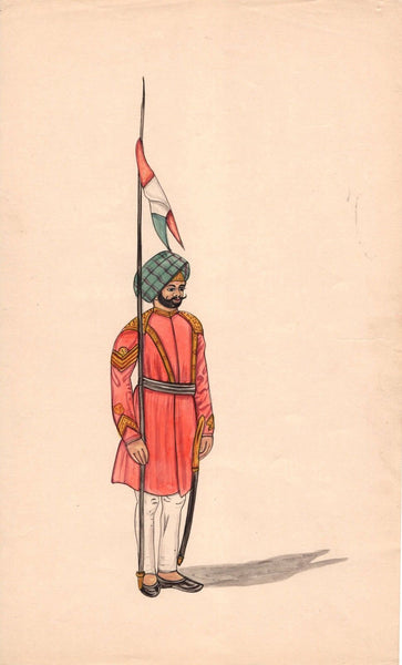 India Miniature Painting Sikh Military Soldier Sentry Handmade Ethnic Folk Art