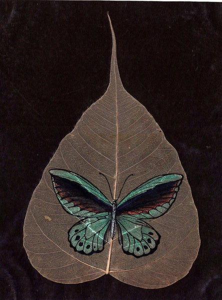 Peepal Leaf Art Handmade Indian Miniature Butterfly Drawing Wall Decor Painting