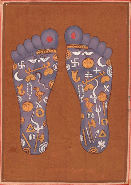 Vishnu Pada Footprint Tantrik Painting Indian Hindu Handmade Tantric Foot Art