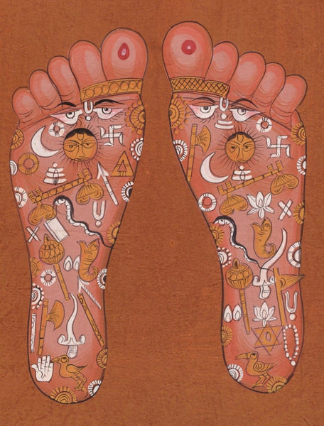 Vishnu Pada Footprint Tantrik Painting Handmade India Hindu God Foot Tantric Art