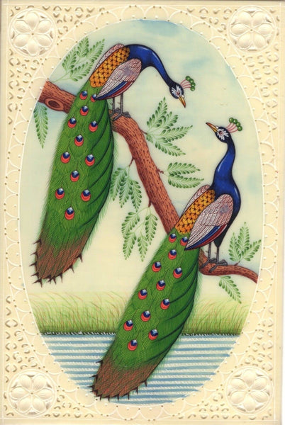 India Peacock Art Handmade Blue Green Feather Watercolor Wild Life Bird Painting