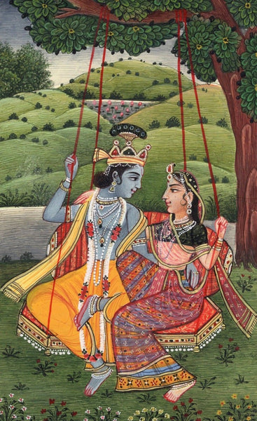 Krishna Radha Kangra Handmade Painting Hindu God Goddess Watercolor Image Art