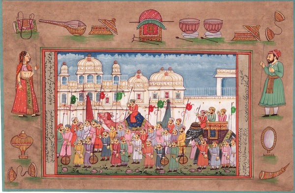 Indian Miniature Painting Rajasthani Royal Maharajah Ethnic Folk Procession Art
