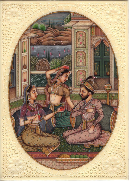 Mughal Indian Empire Miniature Painting Handmade Watercolor Mogul Harem Folk Art