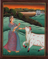 Ragini Ragamala Handmade Painting Rajasthani Indian Ethnic Folk Miniature Art
