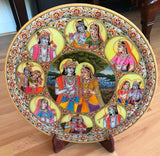 "Krishna Radha 15"" Marble Plate Hindu Art Handmade Indian Miniature Ethnic Art"