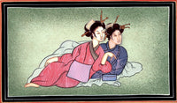 Indo Japanese Painting Handmade Japan India Miniature Ethnic Folk Portrait Art