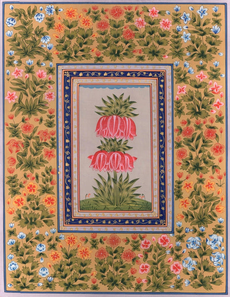 Mughal Floral Painting Handmade Moghul Indian Lotus Flower Miniature Nature Art