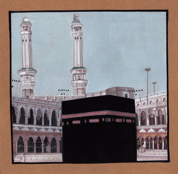 Islamic Mecca Kaba Painting Handmade Rare Indian Arabic Holy Muslim Monument Art