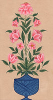 Mughal Floral Miniature Painting Moghul Indian Handmade Nature Lotus Flower Art