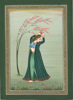 Indian Miniature Painting Hand-Painted Lady of Love Folk Ethnic Watercolor Art