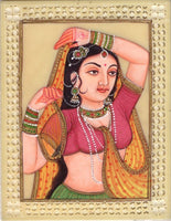 Indian Miniature Painting Rajasthani Princess Handmade Ethnic Decor Portrait Art