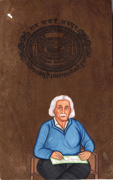 Albert Einstein Art Handmade Indian Miniature Old Stamp Paper Portrait Painting