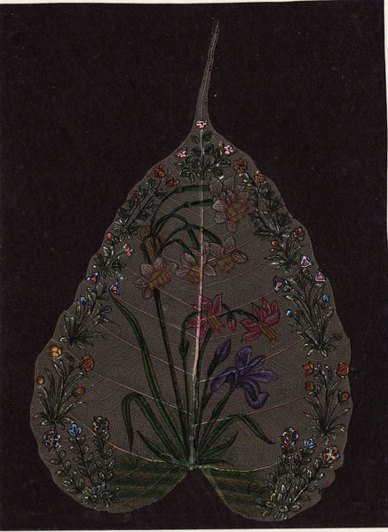 Peepal Leaf Floral Art Handmade Indian Miniature Wall Decor Painting Drawing