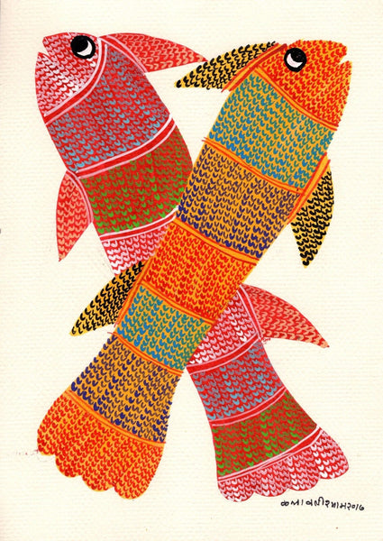 Gond Indian Painting Handmade Madhya Pradesh Tribal Folk Miniature Fish Art
