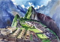 Machu Picchu Peruvian Cuzco Art Handmade Inca Empire Watercolor Decor Painting