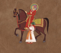 Rajasthani Indian Equestrian Art Handmade Maharaja Miniature Portrait Painting