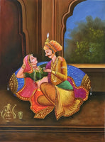 Rajasthani Prince Princess Painting Handmade Indian Royalty Canvas Oil Decor Art