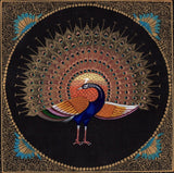 Handmade Indian Peacock Artwork Feather Pattern Watercolor Decor Silk Painting