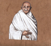 Mahatma Gandhi Painting Handmade Indian Miniature Old Stamp Paper Portrait Art