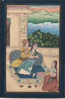Mughal Miniature Ethnic Painting Handmade Indian Moghul Harem Watercolor Art