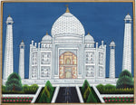 Taj Mahal Indian Art Handmade Wonder of World Mogul Monument Miniature Painting