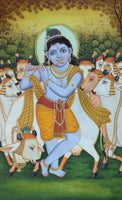 Bala Krishna Painting Handpainted Watercolor Wall Decor Gopal Krishn Hindu Art