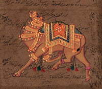 Indian Camel Painting Handmade Nature Animal Miniature Ethnic Stamp Paper Art