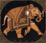 Indian Elephant Ethnic Decor Art Handmade Miniature Udaipur Silk Animal Painting