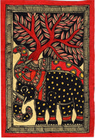 Madhubani Elephant Motif Art Indian Mithila Handmade Miniature Tribal Painting
