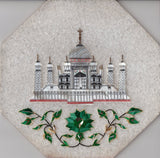 Parchin Kari Taj Mahal Marble Inlay Art Handmade 8″ Floral Pietra Dura Decor Art