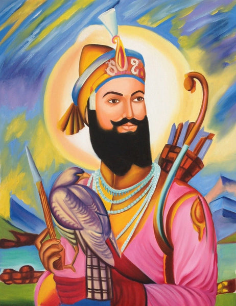 Guru Gobind Singh Sikh Painting Handmade Indian Ethnic Oil Canvas Punjab Art