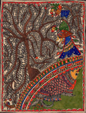 Madhubani Flora Fauna Art Handmade Indian Tribal Folk Mithila Decor Painting