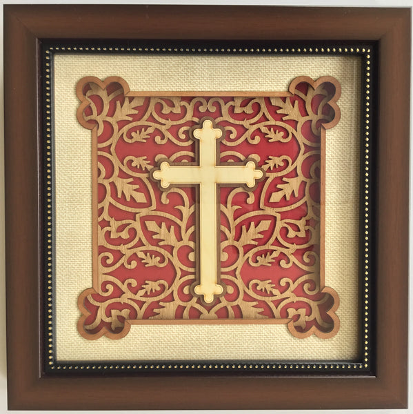 Marquetry Christian Cross Art