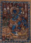 Kalamkari Krishna Painting Handmade Indian Ethnic Folk Cotton Fabric Design Art