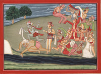 Kangra School Painting Handmade Indian Miniature Krishna Balarama Pahari Art