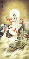 Chinese Miniature Art Handmade Silk Rice Paper Bodhisattva Watercolor Painting