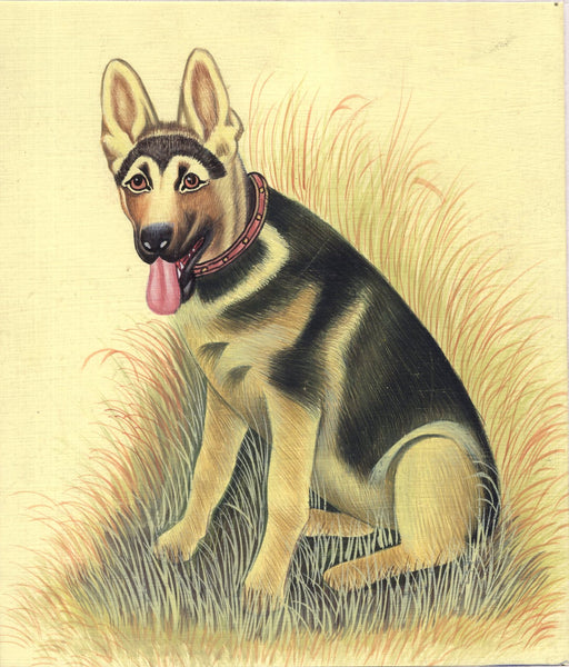 German Shepard Dog Miniature Painting Handmade Alsatian Indian Animal Decor Art
