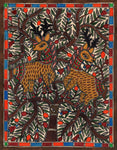Madhubani Tribal Folk Art Handmade  Indian Mithila Bihar Ethnic Deer Painting