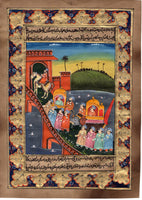 Indian Moghul Miniature Painting Handmade Mughal Empire Royal Procession Art